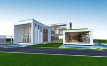 3D Rendering Of Tropical House...