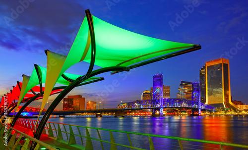 Fotomural Jacksonville skyline sunset river in Florida