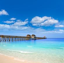 Naples Pier And Beach In Florida USA