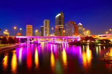 Florida Tampa Skyline At Sunse...