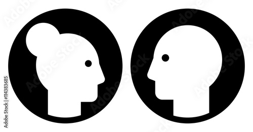 black vector sign of male and female heads silhouettes side view
