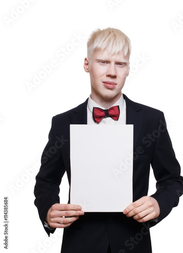 Albino young man in suit with paper sheet isolated. Canvas-taulu