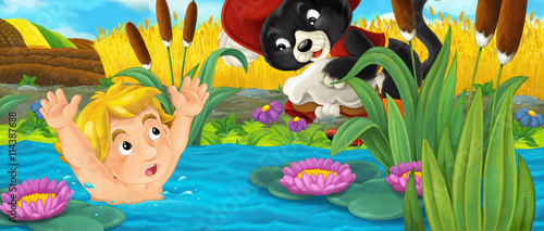 Staande foto Kinderkamer Cartoon happy scene with cat helping young boy getting out of water - illustration for children