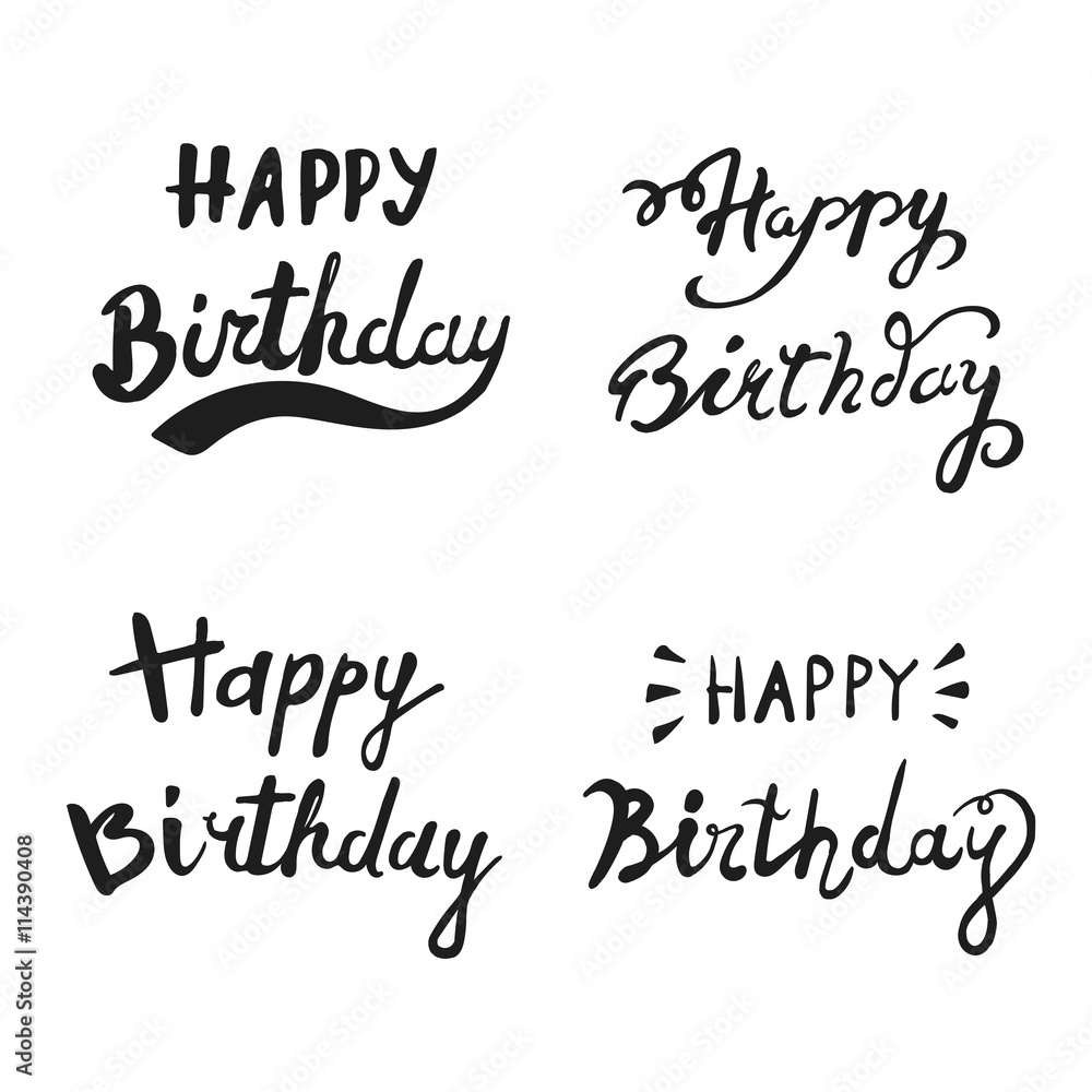 Happy Birthday Brush Hand Lettering Typography Calligraphic Phrase