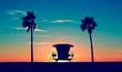 canvas print picture - Vintage Lifeguard Tower - Vintage Lifeguard Tower on Beach at sunset in San Diego, California