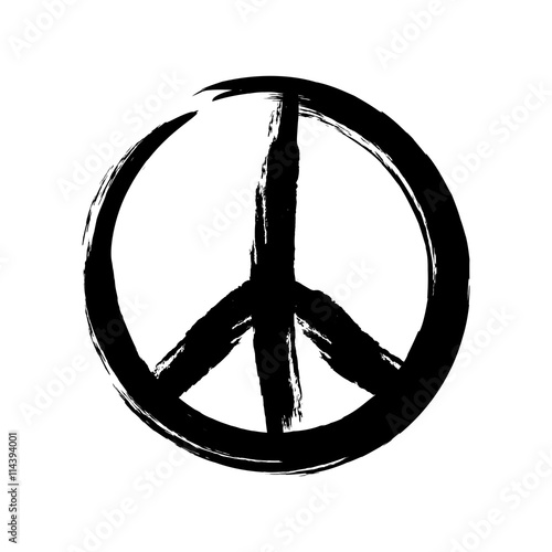 Foto  Sign pacifist, peace symbol, drawn by hand with a brush