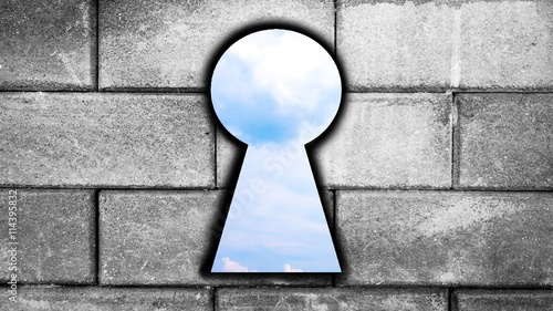 Blue Sky After Key Hole In Aged Brick Wall Background