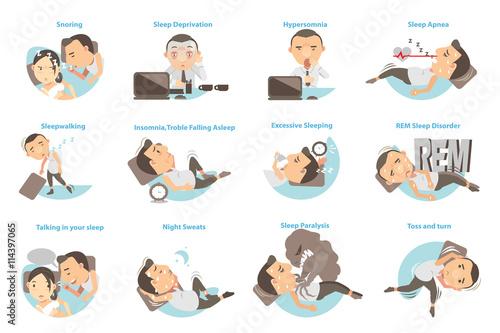 Photo  Sleep Problems/Man with sleep problems. Vector illustration