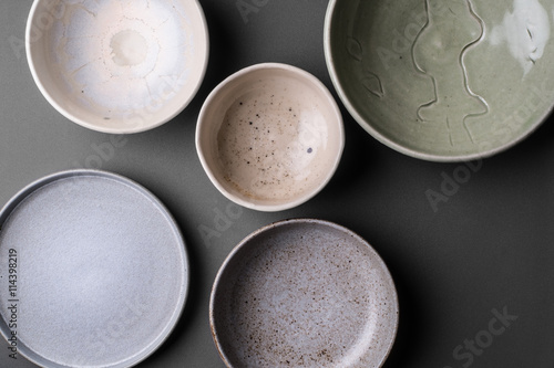 Canvas ceramic bowls on grey background