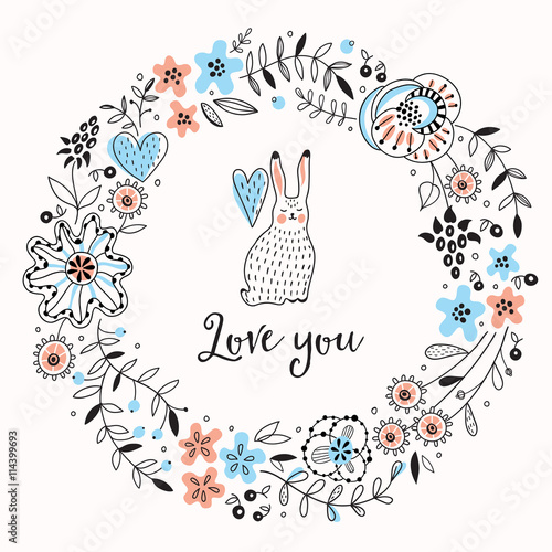 Romantic floral frame with cute rabbit. Vector background