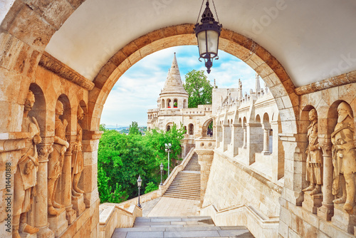 View on the Old Fisherman Bastion in Budapest. Arch Gallery. Wallpaper Mural