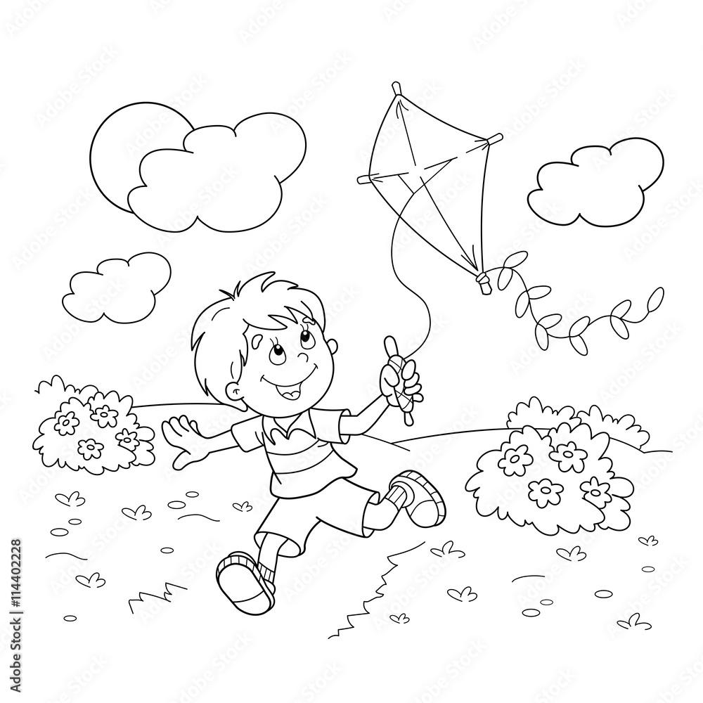 Zarys strony kolorowanie Cartoon chÅ,opiec z latawca <span>plik: #114402228 | autor: oleon17</span>