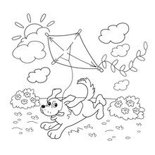 Coloring Page Outline Of Cartoon Dog With A Kite. Coloring Book