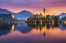 Beautiful, Multicolored Sunrise Over An Alpine Lake Bled In Slovenia