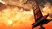 Old Grungy Motel Sign Closeup In A Wonderful Sunset