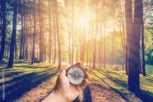 Hand man holding compass at larch forest with sunlight and shado