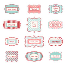 Set Of Romantic Vintage Hand Drawn Labels Templates, Illustration