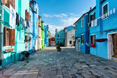 Pedestrian walkway with colorful houses, Burano