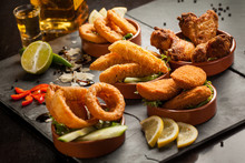 Tex Mex Fried Tapas Mix And Tequila