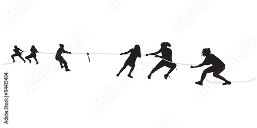 Fotografie, Obraz  Young females pulling a rope in tug of war