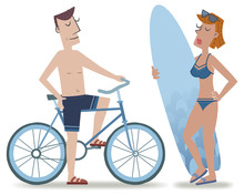 Biker And Surfer Girl. Retro Style Illustration Of A Man Riding A Bicycle Talking To A Girl Holding A Surfboard.
