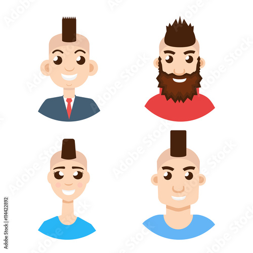 Mohawk Hairstyle Character Avatar Set Buy This Stock Vector And