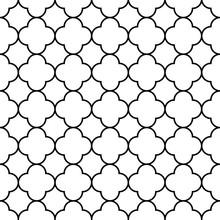 Black And White Arabic Traditional Geometric Quatrefoil Seamless Pattern, Vector