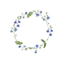 Blue Flowers Garland. Greeting...