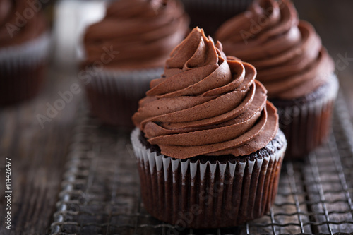 Chocolate cupcakes with whipped ganache Canvas Print