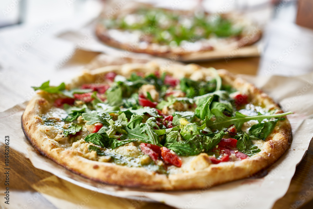 authentic brick oven fired pizza in restaurant