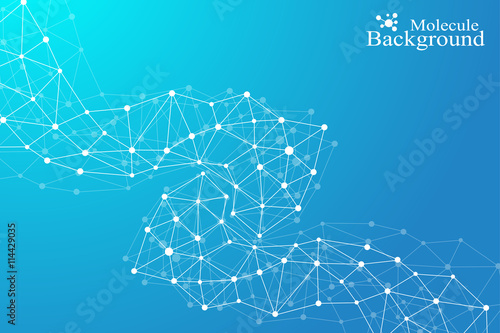 Fototapety, obrazy: Molecule and communication background of neurons and nervous system. Graphic background molecules atom dna. Vector illustration.