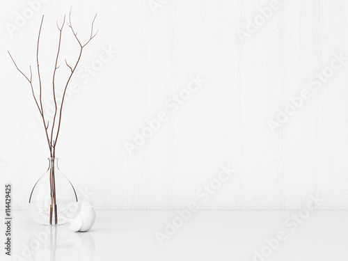 Fotografia  Vintage interior with candle lantern and pine cones on empty wall background