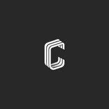 Isometric Letter C Logo Hipste...