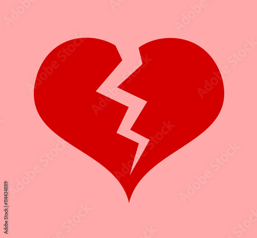 Red Heart With Crack Symbol Of Heart Attack Or Broken Heart After