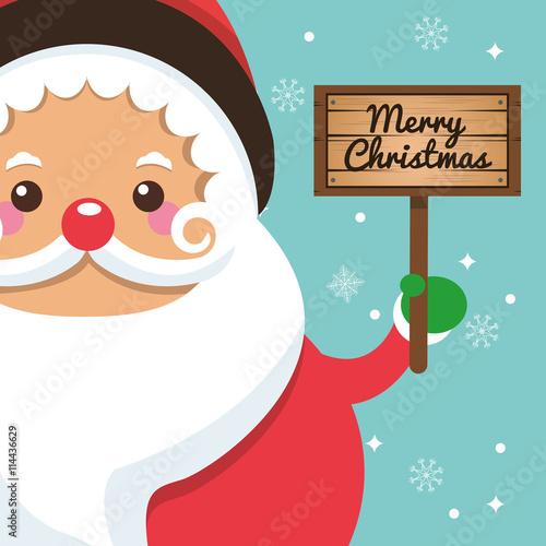 Poster Retro sign Santa cartoon icon. Merry Christmas. Vector graphic