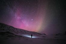 Aurora Borealis In Starry Sky,...