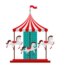 Carousel Horses Isolated Icon Design