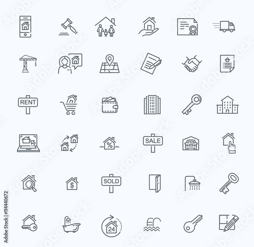 Fotografía  Outline web icons set - Real Estate