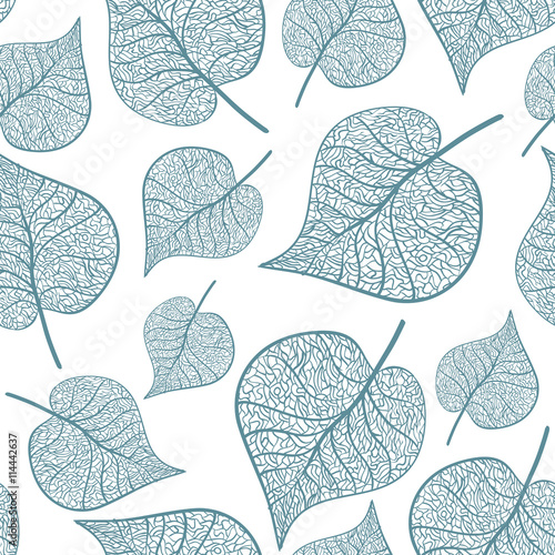 Fotografie, Obraz Hand drawn leaves on white background. Vector seamless pattern.