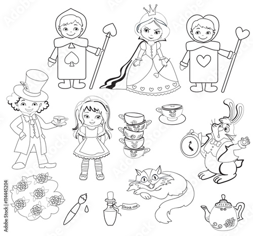 Alice In Wonderland Set Of Characters Coloring Page Buy This Stock Vector And Explore Similar Vectors At Adobe Stock Adobe Stock