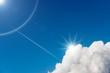 Leinwandbild Motiv Blue Sky with Clouds and Sun Rays