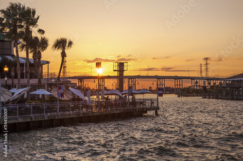 Sunset at the Kemah Boardwalk, Texas