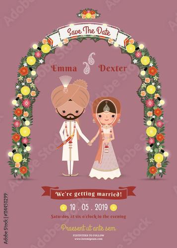 Indian Wedding Bride Groom Cartoon Romantic Dark Pink Invitati