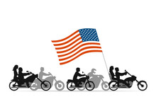 Bikers On Motorcycles With Usa Flag