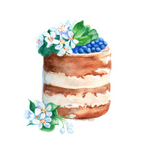 Cake In A Rustic Style With Fr...