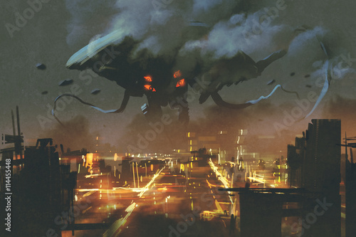 Canvas sci-fi scene,Alien monster invading night city, illustation painting