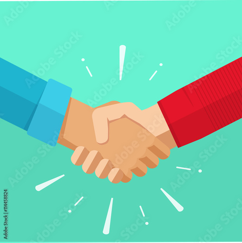 Obraz Handshake shaking hands business vector illustration with abstract rays, symbol of success deal, happy partnership, greeting shake, casual handshaking agreement flat sign design isolated - fototapety do salonu