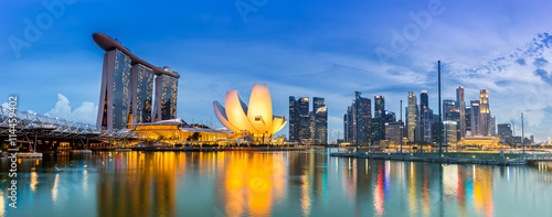 Photo Stands Asian Famous Place Singapore Skyline and view of Marina Bay at Dusk