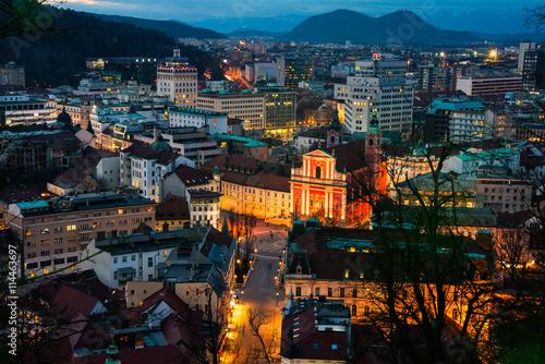 Deurstickers Amsterdam Aerial view of Ljubljana, Slovenia at night