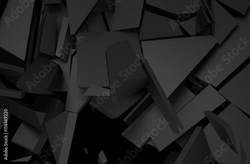 Zdjęcie XXL Abstrakcjonistyczny 3d rendering krakingowa powierzchnia. Tło z złamanym kształcie. Zniszczenie muru. Eksplozja z gruzem.